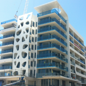 Curved roof of the Sapphire at the Broadwater